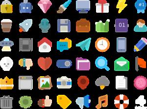 Icones en flat design